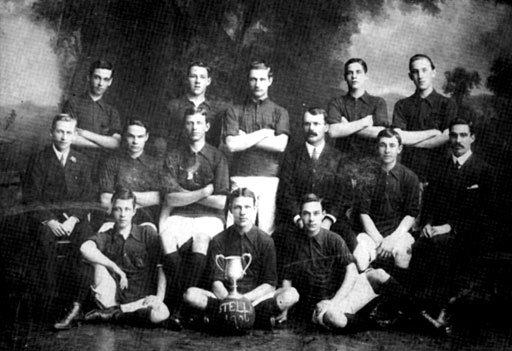 Stella Football Club - 1906 (Under 20) Standing: Alfred Clark; F. Smith; C. Redman; J. Ward; C. Hillary Seated: Peter Clark; C. Sperryn; Frank Clark; Mr. Chiazzari; A. Pinchon; W. Sperryn Foreground: R Smith; B. Smith; E. Smith